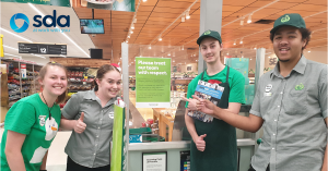 SDA Members with customer respect sign at Woolworths